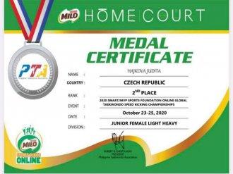 Další úspěch pro Taehan - GLOBAL TAEKWONDO ONLINE SPEED KICKING CHAMPIONSHIPS 2020 - FILIPÍNY